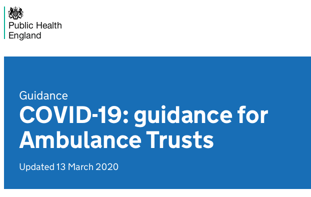 COVID 19 UK Ambulance Trusts
