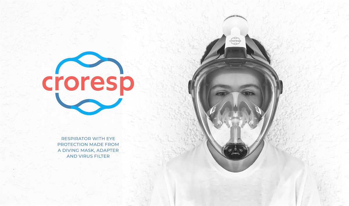 CroResp: Respirator with eye protection made from a diving mask, adapter and virus filter